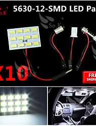10x weiß 5630 12 SMD Panel Karte Kuppel Innenbeleuchtung + Girlande T10 BA9S Adapter