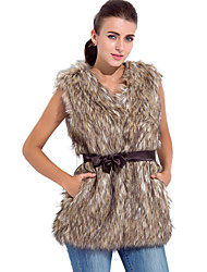 Fur Vest With Sleeveless Collarless  In Faux Fur Party/Casual Vest