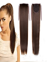 cheap -high quality low price synthetic 22 inch long straight ribbon ponytail hairpiece chestnut brown color hair