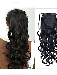 Jet Black / Dark Brown Synthetic Ponytail Wavy Cross Type Ponytail 22inch gram Medium(90g-120g) Quantity