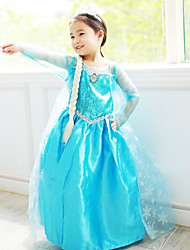 cheap -Princess Fairytale Elsa Cosplay Costume Movie Cosplay Blue Dress Halloween New Year Chiffon