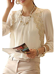 cheap -Women's Work Vintage Blouse - Solid, Lace Ruched Crew Neck