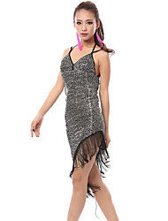 cheap -Latin Dance Dresses Women's Performance Polyester Spandex Sequin Dress