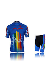 cheap -KEIYUEM Short Sleeves Cycling Jersey with Shorts - Black Bike Clothing Suits, Waterproof, Quick Dry, Breathable, Sweat-wicking, Spring