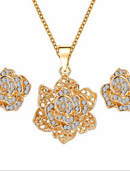 cheap -Jewelry Set Floral Luxury Flower Style Cute Party Flowers Gemstone & Crystal Cubic Zirconia Rose Gold Plated Imitation Diamond Alloy