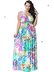 SWEET CURVE Women's Boho Beach Skater Dress,Floral Deep V Maxi Sleeveless Blue Spandex Spring
