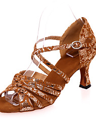 cheap -Women's Latin Shoes Flocking Sandal Pattern / Print Flared Heel Customizable Dance Shoes Black / Brown / Black / Gold / Performance