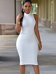cheap -Women's Hot Sale Solid Bodycon Plus Size Casual Hollow Out Backless Round Neck Sleeveless Pencil Dress