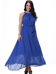 doce curva de praia plus size vestido das mulheres, sólida mangas cinta midi azul / branco / preto / laranja spandex verão