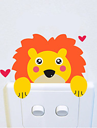 cheap -Wall Stickers Wall Decals Style Cartoon Lion Switch Waterproof Removable PVC Wall Stickers