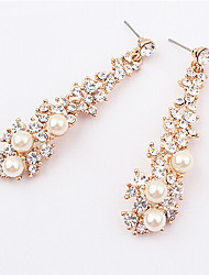 Drop Earrings Pearl Imitation Pearl Rhinestone Alloy Fashion Screen Color Jewelry 2pcs