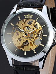 Недорогие -Муж. Часы со скелетом Механические часы Японский Механические, с ручным заводом Кожа Черный 30 m Повседневные часы Аналоговый Роскошь - Черный Один год Срок службы батареи / Нержавеющая сталь