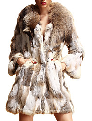 cheap -Long Sleeve Shawl Rabbit Fur&Raccoon Fur Party/Casual Coat
