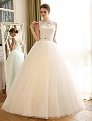 cheap -A-Line Jewel Neck Floor Length Lace / Satin / Tulle Made-To-Measure Wedding Dresses with Appliques / Lace by / Sparkle & Shine