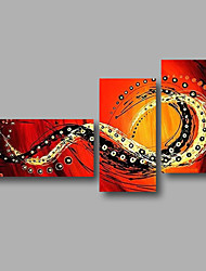 """Ready to Hang Hand-Painted Oil Painting Canvas Three Panels 56""""x36"""" Wall Art Modern Abstract Red Orange"""