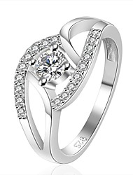 cheap -XU Women's 925 Silver Plated Diamonds Ring Classical Feminine Style