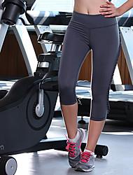 Queen Yoga Mulheres Calças de Corrida Respirável Compressão 3/4 calças justas Calças Ioga Exercício e Atividade Física Corrida Tactel