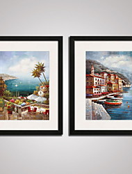 cheap -Framed The Mediterranean Landscape Painitng Canvas Print Art Set of 2 for Wall Decoration Ready To Hang