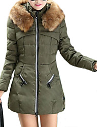 Manteau Rembourré Femme,Longue Grandes Tailles Couleur Pleine-Autres Polyester Manches Longues