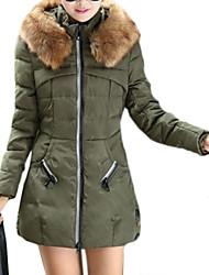 Women's Fur Collar Long Sleeve Slim Trench Coat