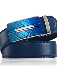 cheap -Men's Genuine Leather Ratchet Belt Business Blue Belts