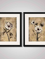 cheap -Framed Vintage Flowers Canvas Print Art for Bedroom Decoraion and Office Decoration Set of 2 Ready To Hang