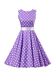 cheap -Women's Going out Vintage Cotton A Line Skater Dress - Polka Dot