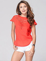 cheap -Women's Casual Plus Size T-shirt - Solid Colored, Cut Out