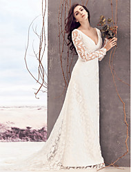 cheap -Sheath / Column V Neck Court Train Lace Custom Wedding Dresses with Lace by LAN TING BRIDE®