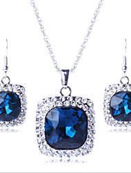 cheap -Women's Imitation Diamond Cute Jewelry Set Earrings / Necklace - Luxury / Party Square / Geometric Purple / Green / Blue Jewelry Set For