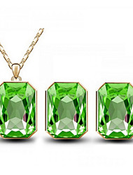 cheap -Women's Crystal Jewelry Set - Crystal Include Rose / Green / Blue For Wedding Party Daily / Earrings / Necklace