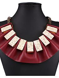 abordables -Femme Colliers Déclaration - Cuir Large, Européen, Mode Écran couleur Colliers Tendance Pour