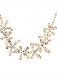 abordables -Mujer Cristal Gargantillas - Brillante Flor, Copo de Nieve Dorado Gargantillas Para