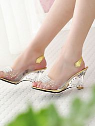 cheap -Women's Shoes Leatherette Spring / Summer / Fall Translucent Heel / Wedge Heel Crystal Silver / Golden / Wedge Heels
