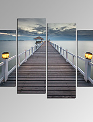 cheap -VISUAL STAR®Bridge on Sea Landscape Canvas Wall Art Modern Wall Decor Canvas Art Ready to Hang