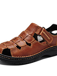 cheap -Men's Shoes Nappa Leather Spring Summer Fall Comfort Sandals Water Shoes for Casual Outdoor Dress Black Light Brown