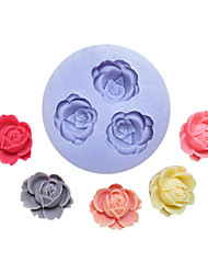 Three Holes Flower Silicone Mold Fondant Molds Sugar Craft Tools Resin flowers Mould  For Cakes