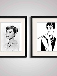 cheap -Framed  Black and White Famous Film Star Audrey Hepburn Canvas Print Art for Wall Decoration  40x50cmx2pcs Ready To Hang