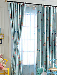 Grommet Top Double Pleated One Panel Curtain Designer , Cartoon Kids Room Polyester Material Curtains Drapes Home Decoration For Window