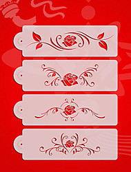 cheap -Rose Design2# Valentine Wedding Cake Stencil Set,Plastic Cake Side  Stencil Stencil,Fondant Cake Tools  ST-3176