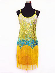cheap -Latin Dance Dresses Women's Performance Polyester / Sequined Sequins / Tassel(s) 1 Piece 5 Colors