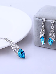 cheap -Women's Crystal Jewelry Set - Crystal Include Blue / Pink / Golden For Wedding Party Daily / Earrings / Necklace