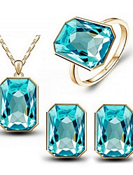 cheap -Women's Crystal Jewelry Set - Crystal Include Rose / Green / Blue For Wedding Party Daily / Rings / Earrings / Necklace