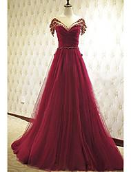 お買い得  -フォーマルイブニング ドレス Aライン ラウンドネック コートトレーン チュール とともに ビーズ / リボン