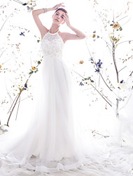 Trapèze Princesse Licou Traîne Chapelle Dentelle Organza Robe de mariée avec Perle Dentelle par LAN TING BRIDE®