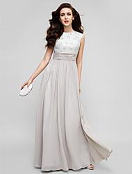 Kappe / søjle mor til brudekjole gulvlange ærveløs chiffon med perle af ts couture®