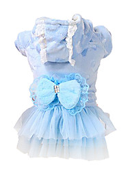 cheap -Dog Coat Dress Dog Clothes Bowknot Blue Pink Cotton Costume For Pets Women's Keep Warm Fashion