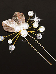 Women Fashion Gold Pearls Leaves Hairpin Hair Clip for Wedding Bride