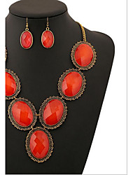 cheap -Women's Crystal Cubic Zirconia / Imitation Diamond Jewelry Set Earrings / Necklace - Luxury / Vintage / Party Red Jewelry Set For
