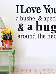 cheap -Wall Stickers Wall Decals Style I Love You English Words & Quotes PVC Wall Stickers
